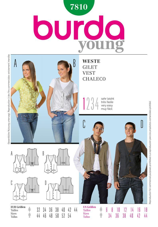 B7810 - Burda Style, Vest | Burda style patterns | Pinterest