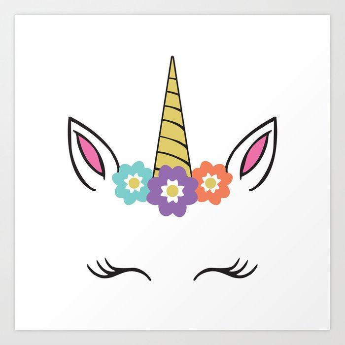Buy Unicorn Face Flowers Eyelashes Horn Ears Art Print By