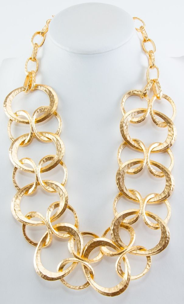 """Kenneth Jay Lane 20"""" to 26"""" adj satin hammered gold wide woven circle necklace #KennethJayLane #Necklace"""