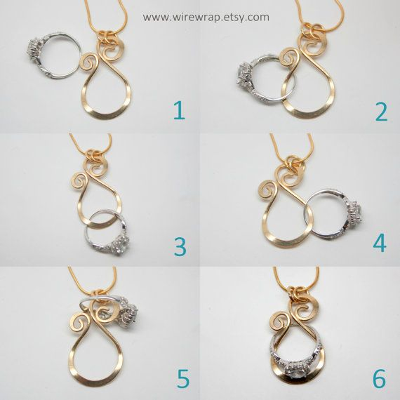 fast shipping gold magic ring holder necklace wedding engagement ring holder pendant yellow or rose gold filled - Wedding Ring Necklace Holder