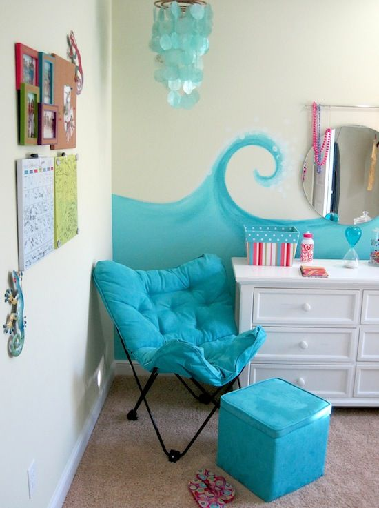 Lounge chair and ottoman for reading nook and storage for Beach themed bedroom ideas pinterest