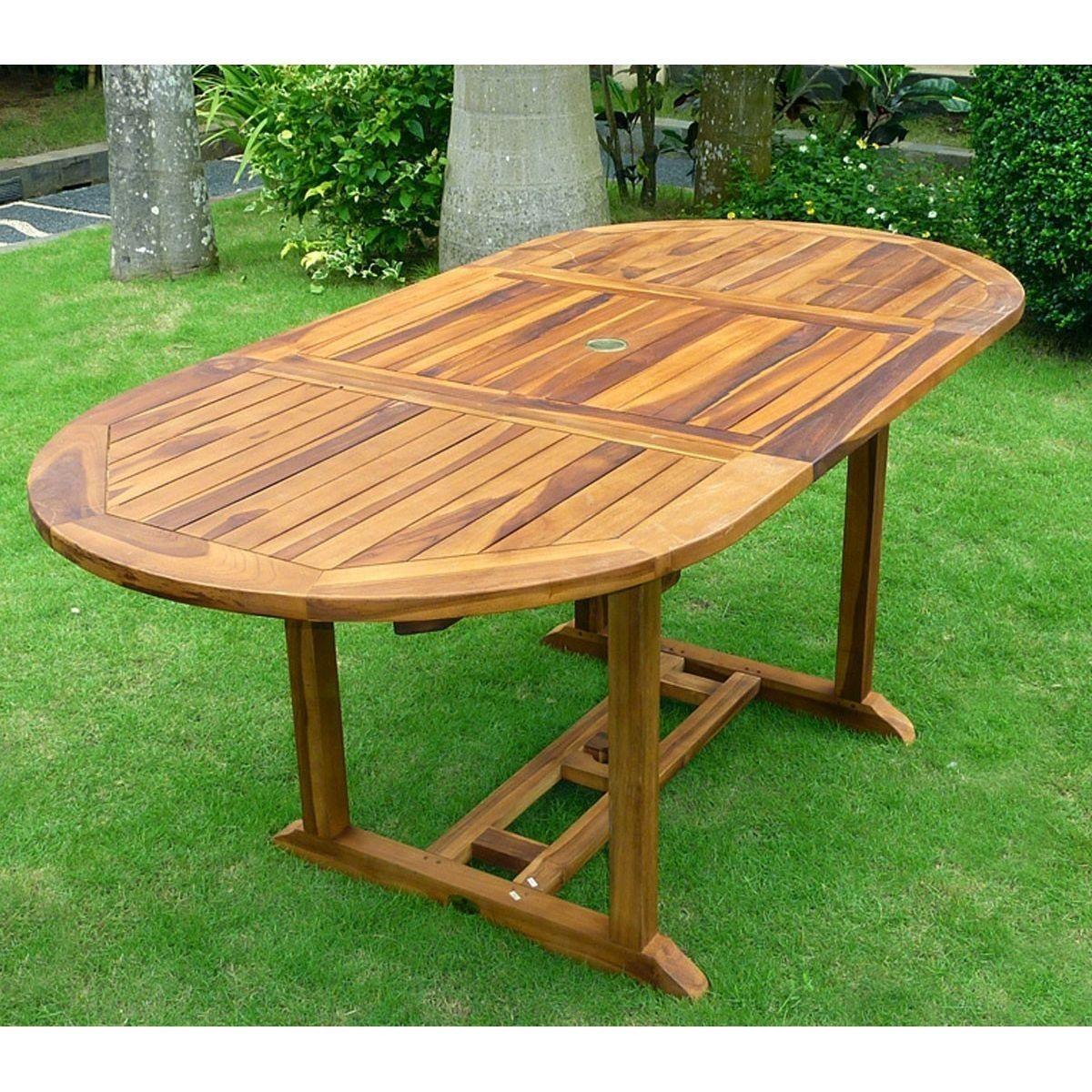Table Ovale De Jardin En Teck Huilé Avec Rallonge Papillon ...