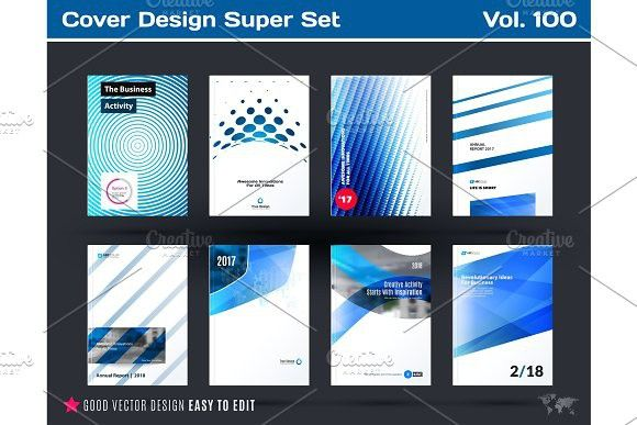 Set of design of business vector template, brochure, abstract annual - Summary Report Template