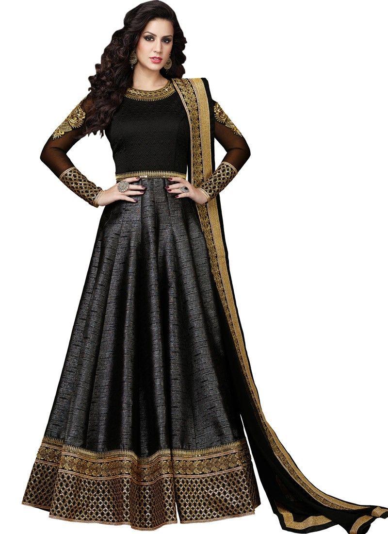 6bafeeea0 Black Silk Floor Length Anarkali Gown More