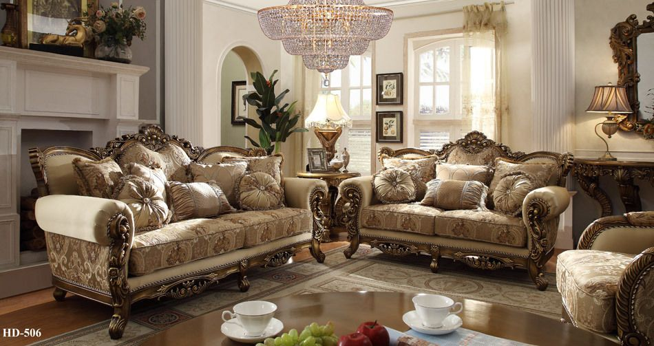 Hd506 Argentina Ivory Gold Upholstered Sofa And Love