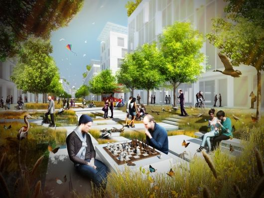 """Transforming London's Royal Docks into """"Water Boulevards"""", runner-up entry by Baharash Architecture   Bustler"""