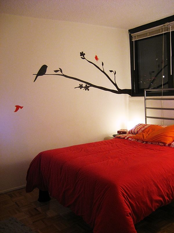cool minimalist black red tree branch & birds silhouette wall