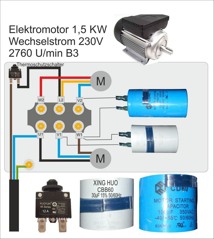 bildergebnis fuer  motor kondensator relais schaltung