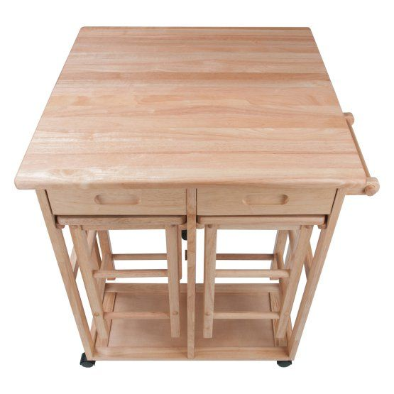 Dining Room Storage Ideas To Keep Your Scheme Clutter Free: Winsome Drop Leaf Kitchen Island With 2 Square Stools In