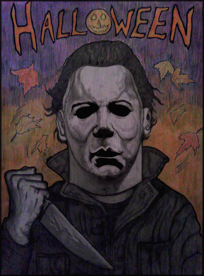 Michael Myers colored and shaded drawing
