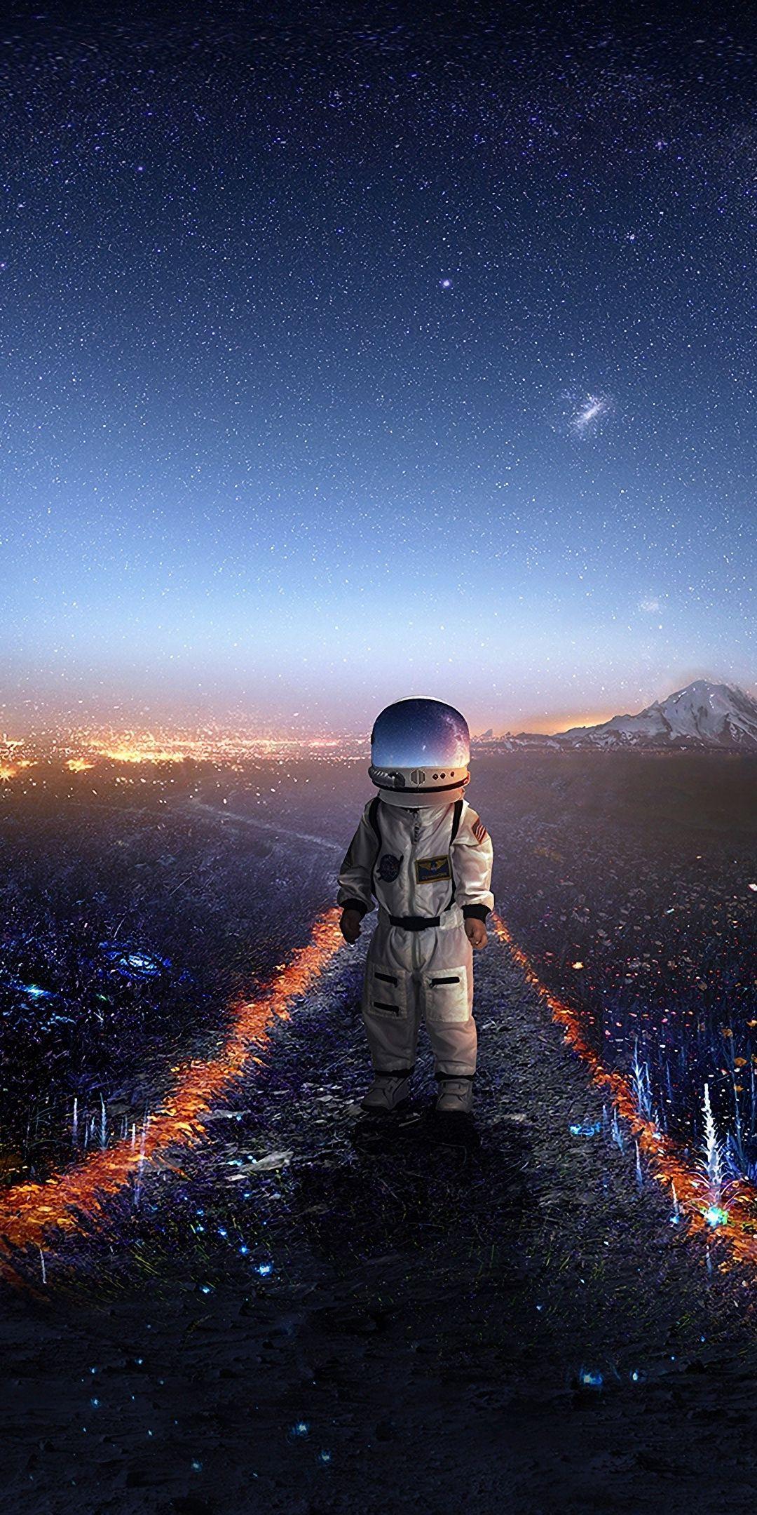 Astronaut Space Fantasy Landscape Starry Night Art 1080x2160 Wallpaper Astronaut Wallpaper Space Artwork Astronaut Art