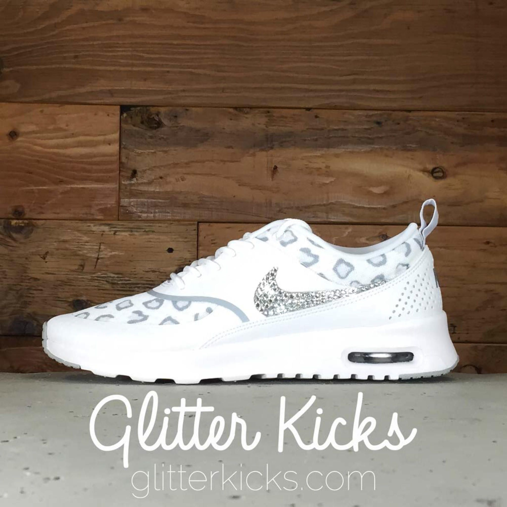 Nike Air Max Thea Print Running Shoes By Glitter Kicks - Customized With  Swarovski Crystal Rhinestones - White Gray Platinum Leopard Print eaddfd9f9405