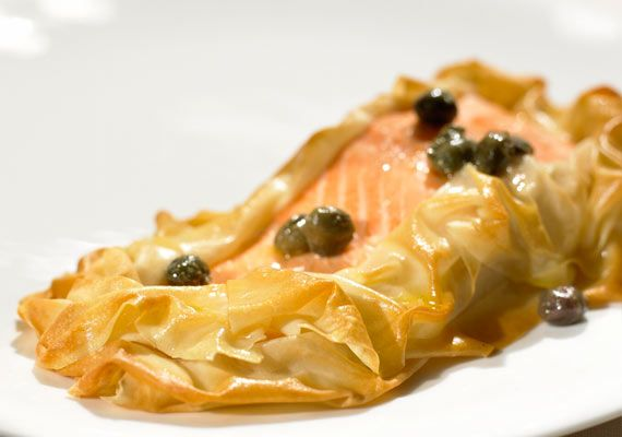 salmon fillet in filo with caper butter recipes pastry recipes salmon fillets pinterest