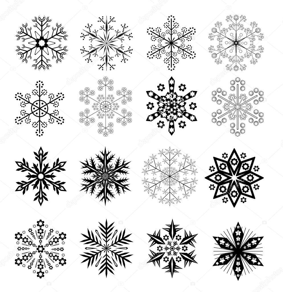 Télécharger - Ensemble noir et blanc de flocons de neige — Illustration #4604663   Tatouage ...