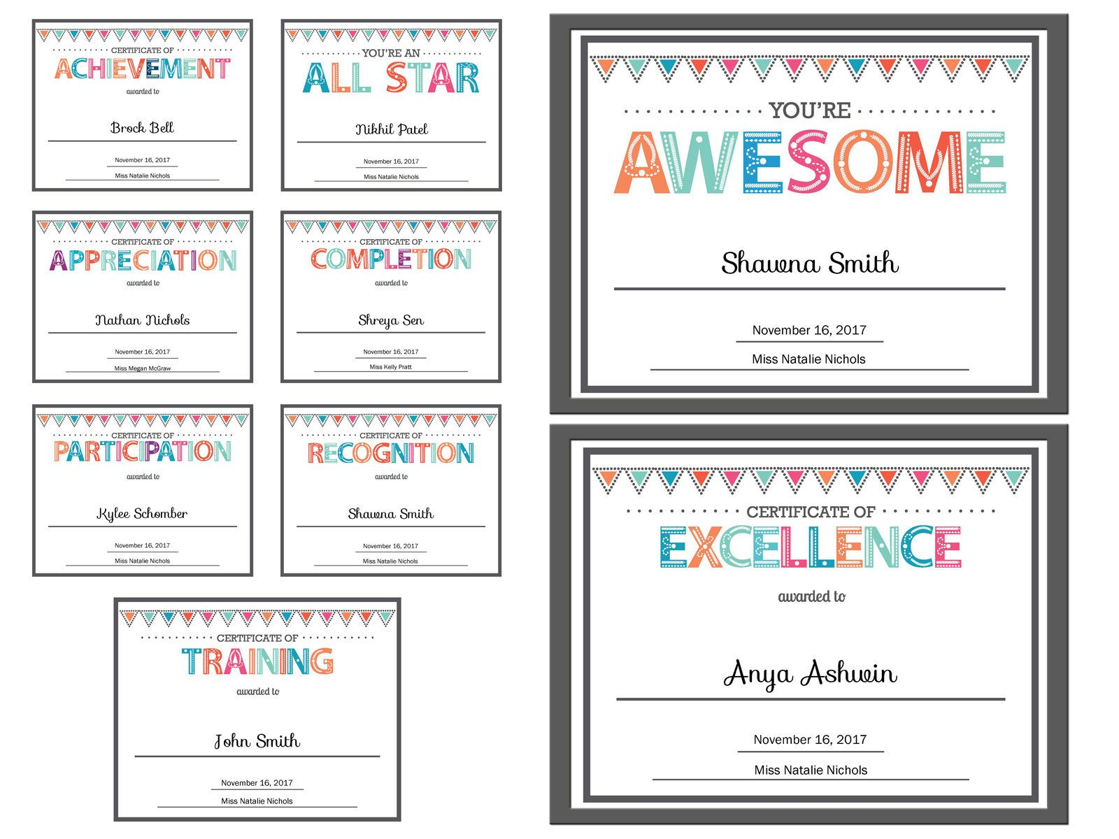 Editable Pdf Kids Children Teacher Classroom Certificate Award