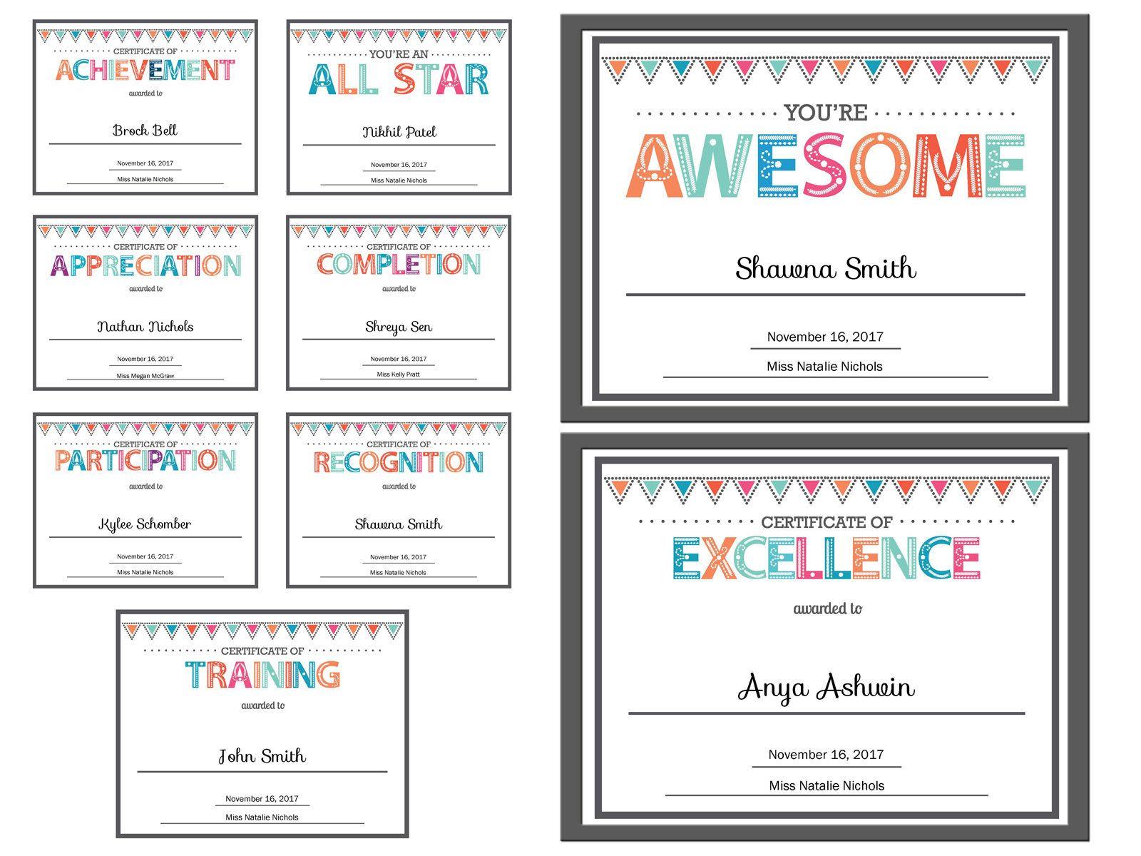 Editable Kids Children Teacher Classroom Certificate