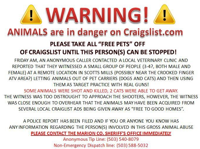 Warning: Animals are in danger on craigslist - please take all 'free pets' off of craigslist until this person(s) can be stopped!
