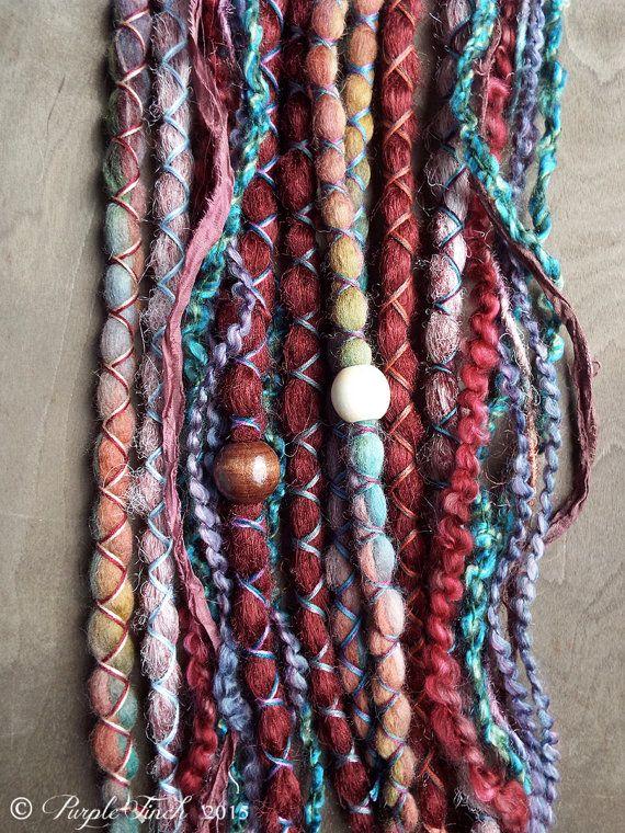 Boho dreadlock wrap tie felted wool dread flexible bendable hair tie synthetic dreads hippie gypsy hair accessory wire core wool tieback