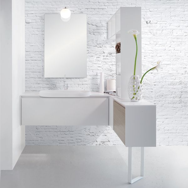 meuble salle de bain suspendu laque blanc