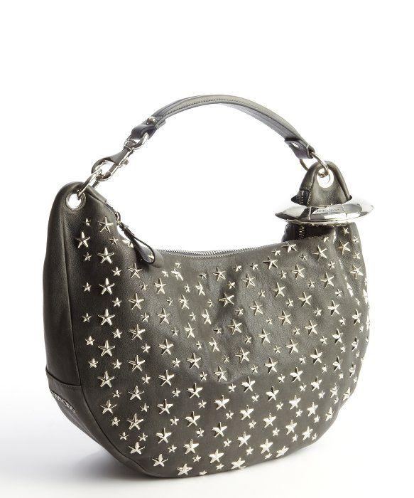 Jimmy Choo : smoke grey leather 'Solar' shoulder bag : style # 328417401