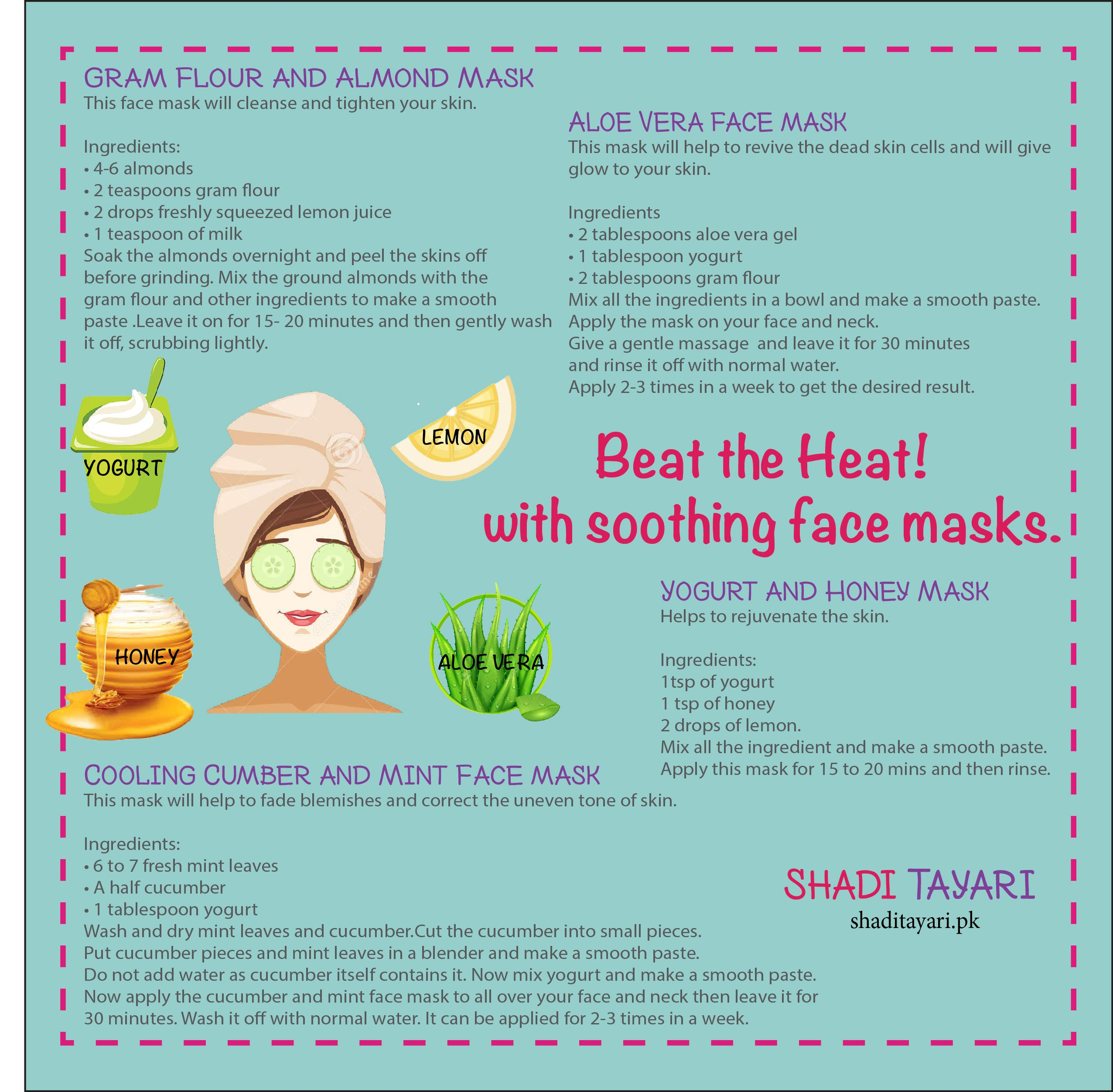 Beat the heat with soothing masks. Face mask ingredients