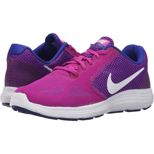 Nike Revolution 3 (Hyper Violet/Concord/Gamma Blue/White) Women's... ($48) ❤ liked on Polyvore featuring shoes, athletic shoes, pink, breathable running shoes, athletic running shoes, cushioned running shoes, pink shoes and lace up shoes