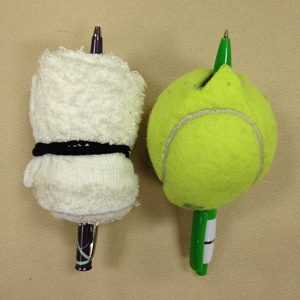 Simply cut a hole in a tennis ball to slip a pen through, or wrap a washcloth and ponytail holder around a pencil to make these items easier to grip.  These modifications would be helpful for those who have poor grip strength or for those who experience pain when holding a pen, such as in cases of arthritis.  $1 or less