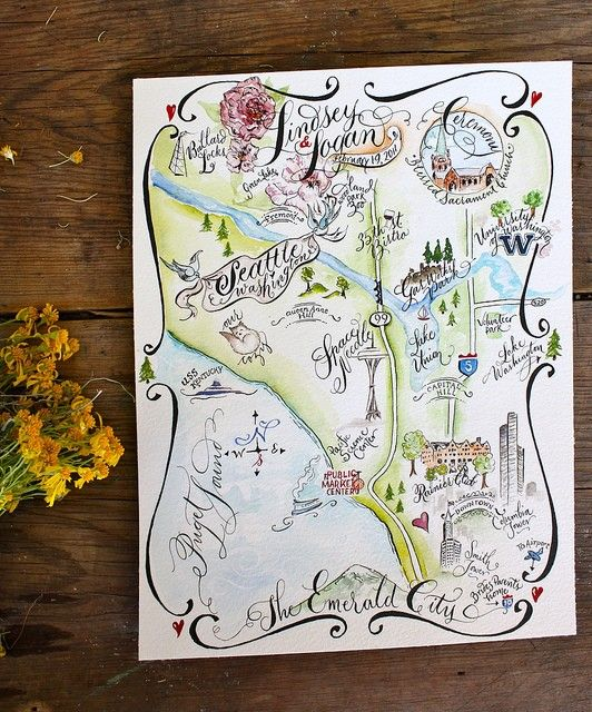 Wedding Map, Save The Date, Custom Illustrated Watercolor