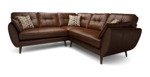 Zinc Leather 2 Piece 2 Arm Corner Group Zinc Leather in Tan Combination | DFS Ireland | €3,909