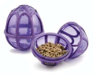 Make dogs work for their food with the Kibble Nibble. This activity ball mentally and physically stimulates dogs by appealing to their natural prey and stalking drives. The customizable dual Treat Meters™ randomly dispense kibble and treats as the ball tumbles around. The Kibble Nibble also features rubber bumpers to minimize noise and marks on walls and floors. Each toy is appropriately sized to hold a dog's entire meal. Unscrews for easy loading and quick clean-up. #pet #vet
