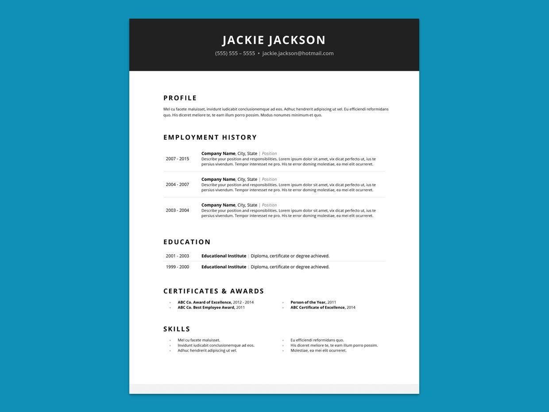 Resume Template Pack Minimalist & Clean MS Word