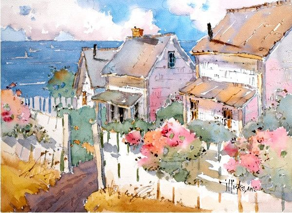 Coastal Cottages Transforming The Landscape In Watercolor