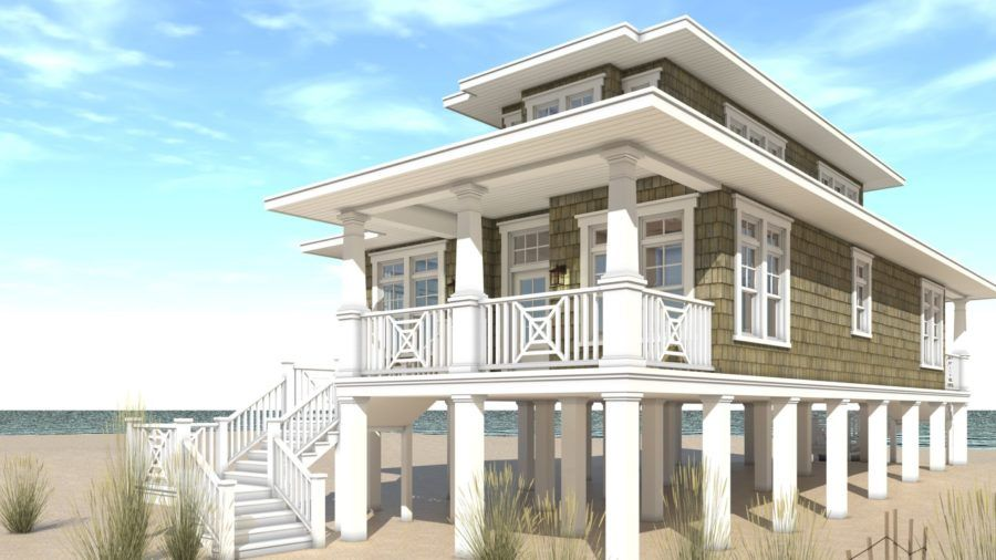 2 Bedroom Beach House Designed for Narrow Lot Tyree House Plans