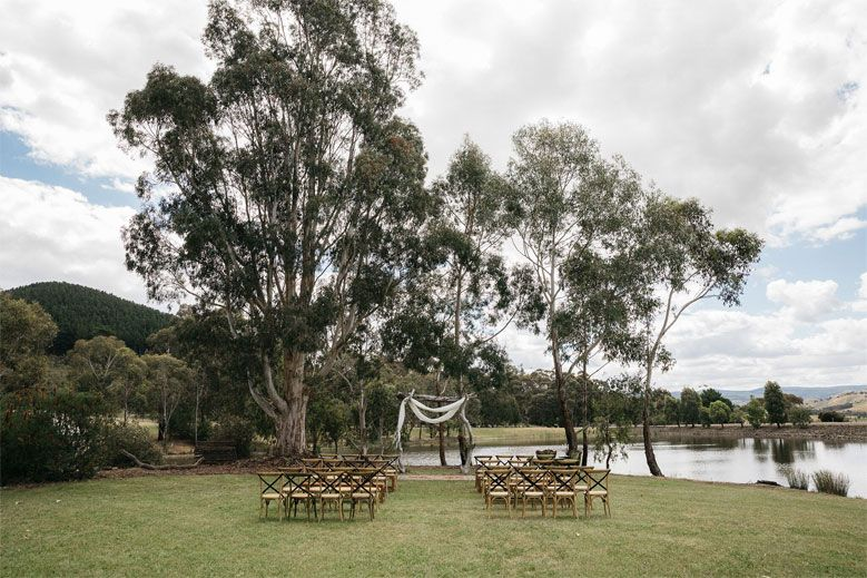 This Relaxed Country Boho Wedding Was Styled By the Bride - outdoor wedding ceremony setting ideas #outdoorwedding #weddingdecor #bohowedding