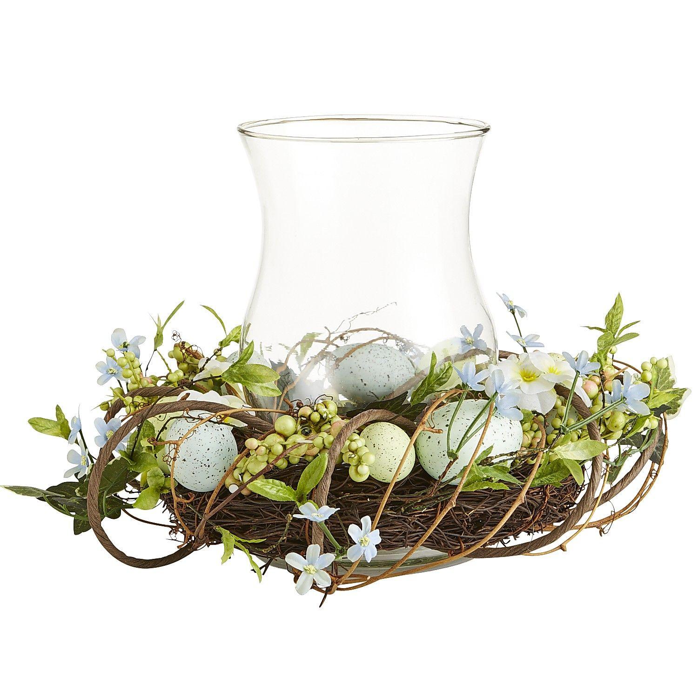 Speckled Egg Hurricane - Blue Easter Decor