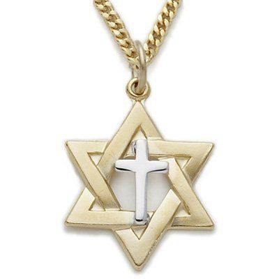 78 14k gold filled 2 tone star of davidcross necklace on 24 78 14k gold filled 2 tone star of davidcross necklace on 24 chain truefaithjewelry 5995 aloadofball Gallery