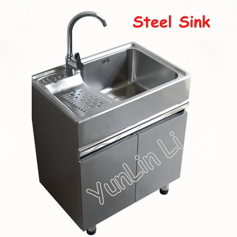 80x48cm Steel Sink Balcony Lavatory Cabinet Movable Washboard Closet Floor Sink Cabinet Bathroom Cabinet Combination Sink Floor Sink Sink Cabinet