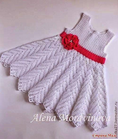 Crochet Y Dos Agujas Vestido Para Niña Con Punto Zig Zag