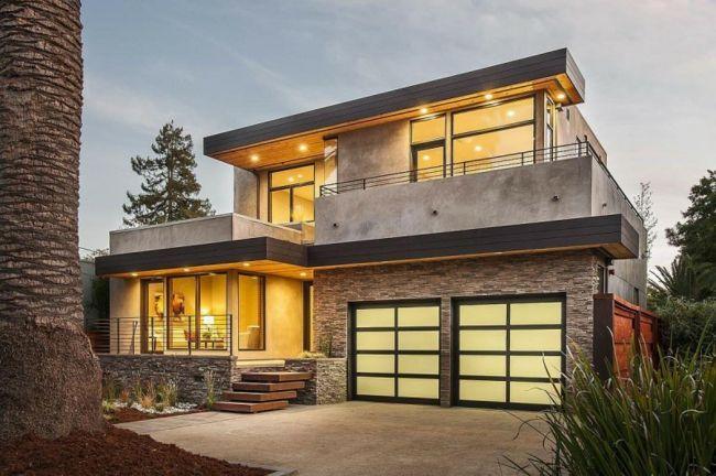 Natursteinplatten Haus Fassade gestalten modernes Massivhaus - Haus Modern