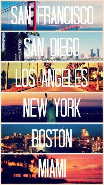 San Francisco San Diago Los Angeles New York Boston Miami Travel Places To Travel Trip