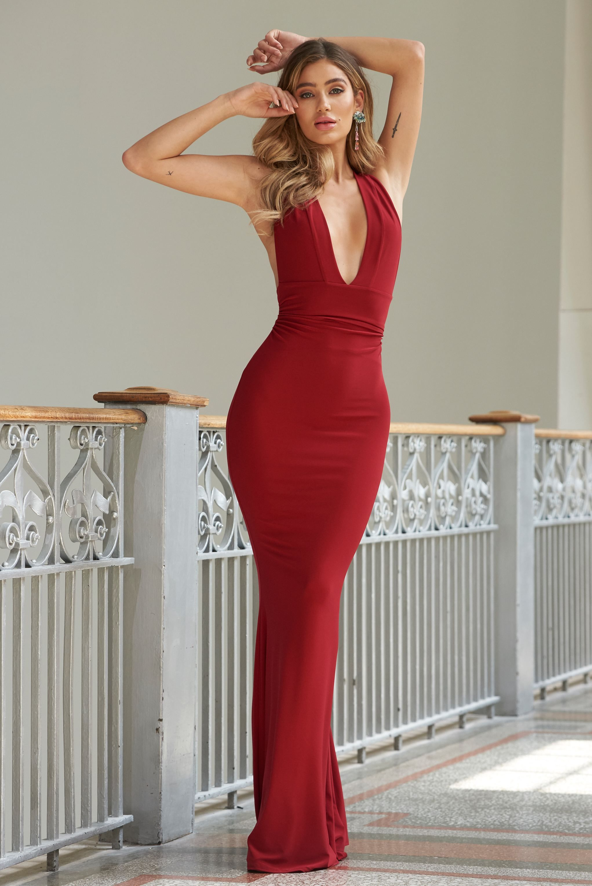 d8ef5469a2a9 Red Strappy Cross Back Fishtail Maxi Dress in 2019   prom dresses ...