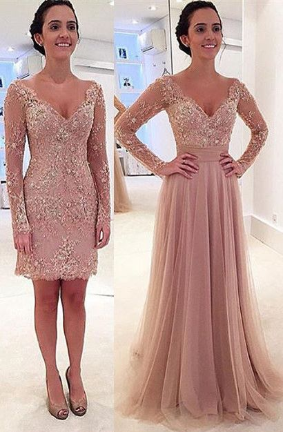 Queen Anna Neckline Long Sleeves 2 In 1 Evening Dress Prom Prom Gown