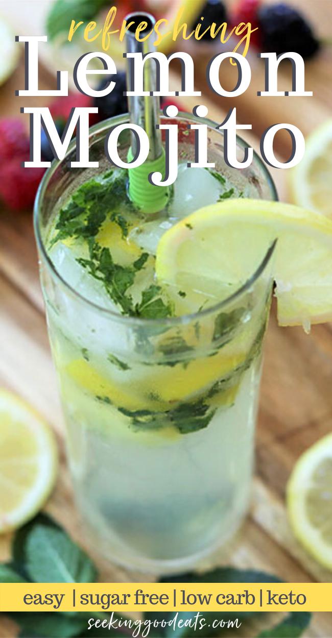 Skinny Lemon Mojito Sugar Free Keto Low Carb Seeking Good Eats Recipe Lemon Mojito Recipe Low Carb Cocktails Low Carb