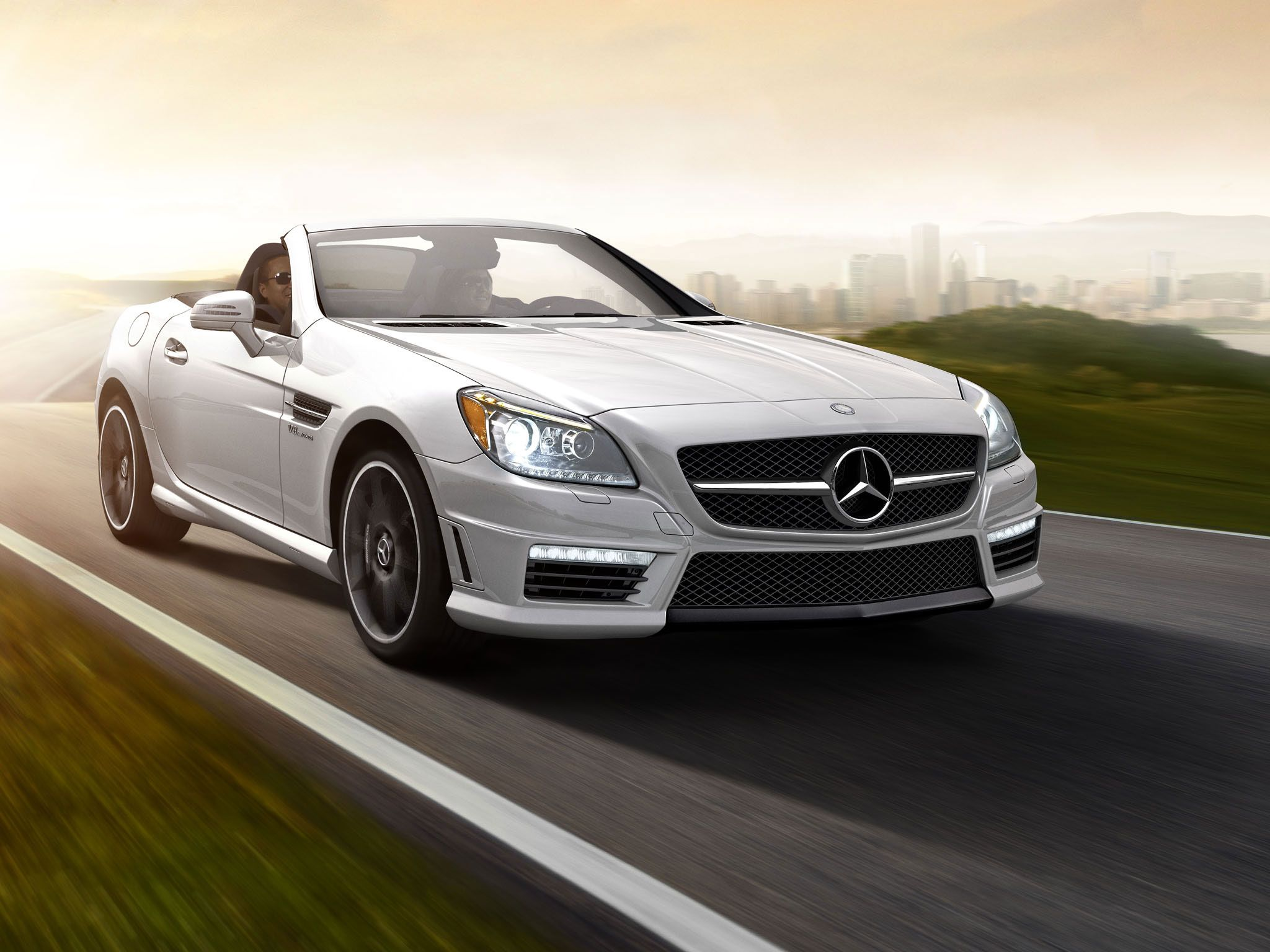 Mercedes Benz Slk55 Amg In Diamond White With Matte Black Amg