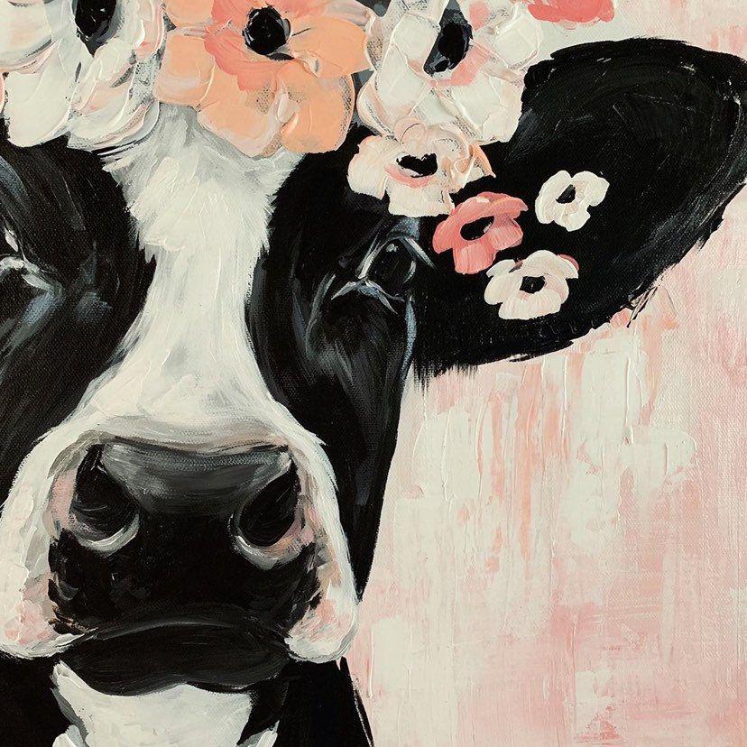 Photo of ORIGINAL 20×20 Cow painting, holstein painting, farmhouse art, farmhouse decor