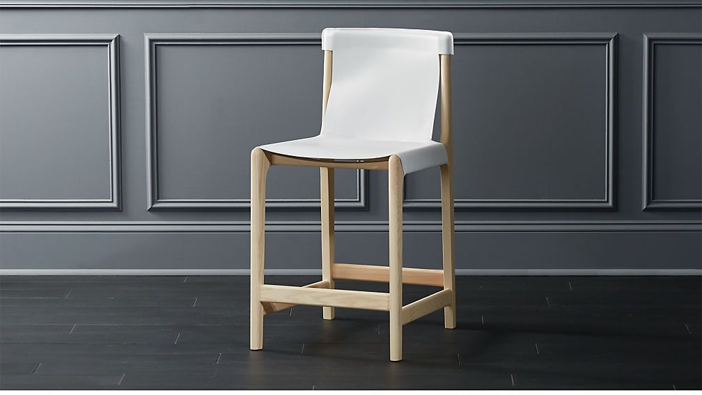 Burano white leather sling counter stool reviews cb2