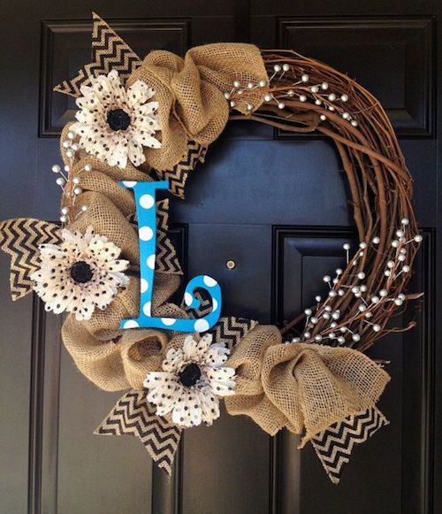 About us burlap wreaths and craft for Burlap ribbon craft ideas