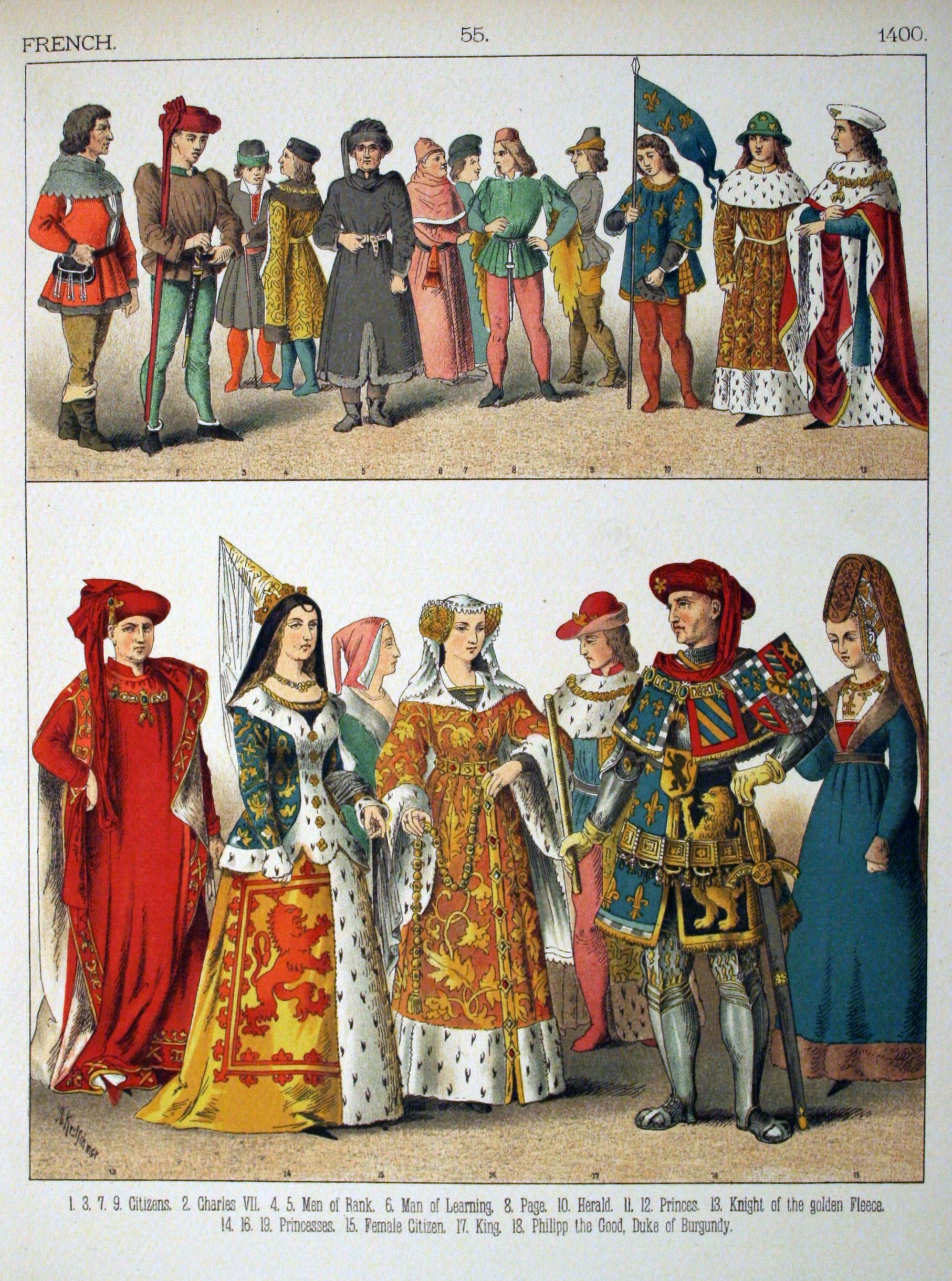 Http Upload Wikimedia Org Wikipedia Commons D De 1400 2c French 055 Costumes Of All Nations 281882 Roupas Historicas Vestuario Medieval Roupas De Epoca