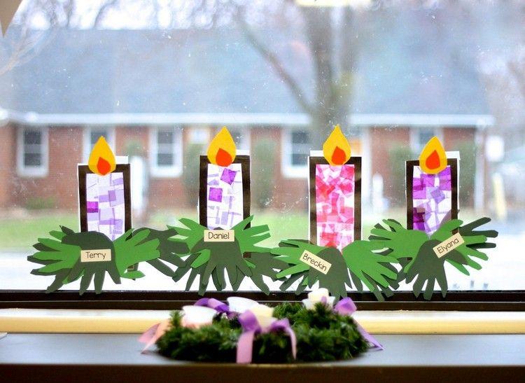 Weihnachtsdeko Fenster Kindergarten.Weihnachtsfenster Dekorieren Mit Kindern Adventskranz Fensterbild