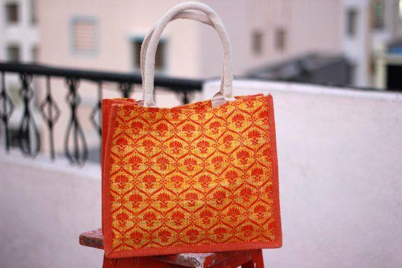 Spring Beach Tote Bag/ Orange Jute Handbag/ tribal by JuteLove, $4.99
